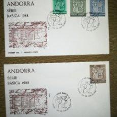 Sellos: ANDORRA ESPAÑOLA 1988 EDIFIL 209-212 ESCUDOS SERIE BASICA SOBRE DE PRIMER DIA SPD. Lote 133457177
