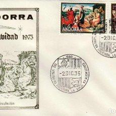 Sellos: ANDORRA - UN SOBRE PRIMER DIA (SPD) **NAVIDAD 1975** EDIFIL 100-101. Lote 128699811