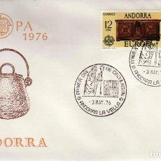 Sellos: ANDORRA - UN SOBRE PRIMER DIA (SPD) **EUROPA 1976** EDIFIL 102-103. Lote 128700111