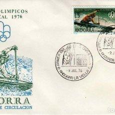 Sellos: ANDORRA - UN SOBRE PRIMER DIA (SPD) **JUEGOS OLIMPICOS MONTREAL 1976** EDIFIL 104-105. Lote 128700611