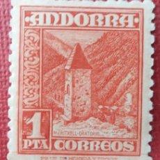 Sellos: ANDORRA. CORREO ESPAÑOL, 1948-53. TIPOS DIVERSOS. 1 PTA., BERMELLÓN (Nº 54 EDIFIL).. Lote 139975898