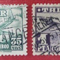 Sellos: TÁNGER. AVIONES, 1948. DOS VALORES SUELTOS (N.º 168 Y 169 EDIFIL). . Lote 139993566