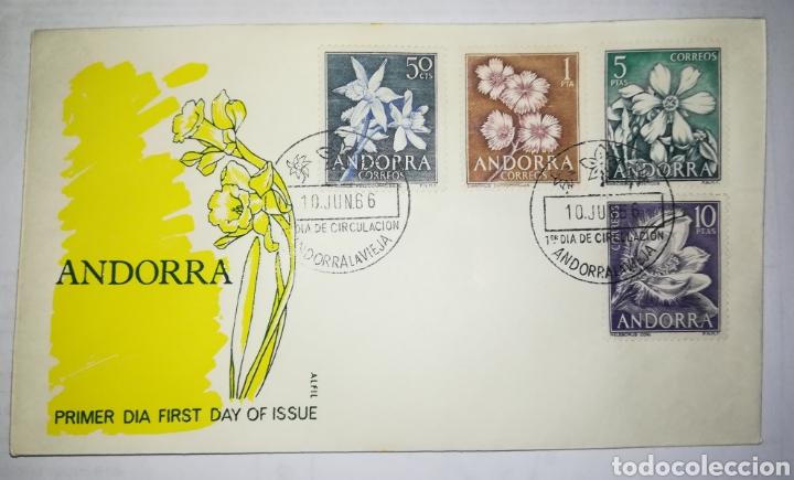 ANDORRA ESPAÑOLA 1966 EDIFIL 68-71 FLORES SOBRE PRIMER DIA SPD (Sellos - Extranjero - Europa - Andorra)