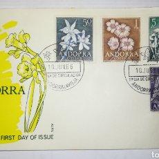 Sellos: ANDORRA ESPAÑOLA 1966 EDIFIL 68-71 FLORES SOBRE PRIMER DIA SPD. Lote 143114728