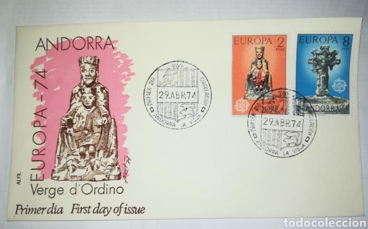 ANDORRA ESPAÑOLA 1974 EDIFIL 89-90 EUROPA CEPT SOBRE PRIMER DIA SPD (Sellos - Extranjero - Europa - Andorra)