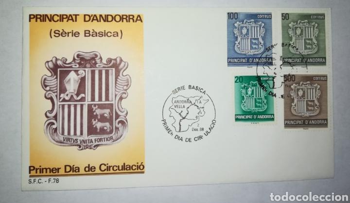 ANDORRA ESPAÑOLA 1988 EDIFIL 209-212 BÁSICA ESCUDOS SOBRE PRIMER DIA SPD (Sellos - Extranjero - Europa - Andorra)