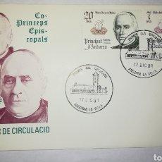 Sellos: ANDORRA ESPAÑOLA 1981 EDIFIL 146-147 COPRÍNCIPES SOBRE PRIMER DIA SPD. Lote 143120745