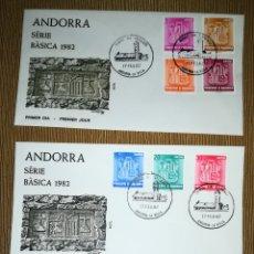 Sellos: ANDORRA ESPAÑOLA 1982 EDIFIL 148-156 BASICA ESCUDOS SOBRE PRIMER DIA SPD. Lote 143122505
