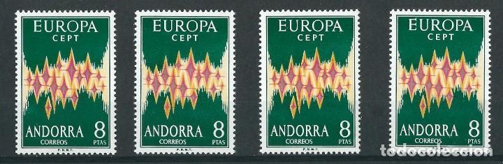 SELLOS ANDORRA 1972 EDIFIL 72** EUROPA CEPT 4 VALORES (Sellos - Extranjero - Europa - Andorra)