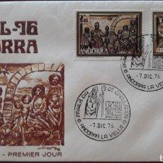 Sellos: SOBRE ANDORRA LA VELLA NAVIDAD 1976. Lote 153833492