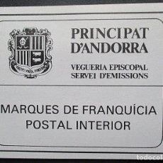 Sellos: ANDORRA CARNET DE FRANQUICIA POSTAL NUEVO. Lote 156886102
