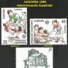 Sellos: ANDORRA ESPAÑOLA 1989 - AD-ES 213 A 217 - 5 SELLOS NUEVOS - SERIE COMPLETA. Lote 165061242