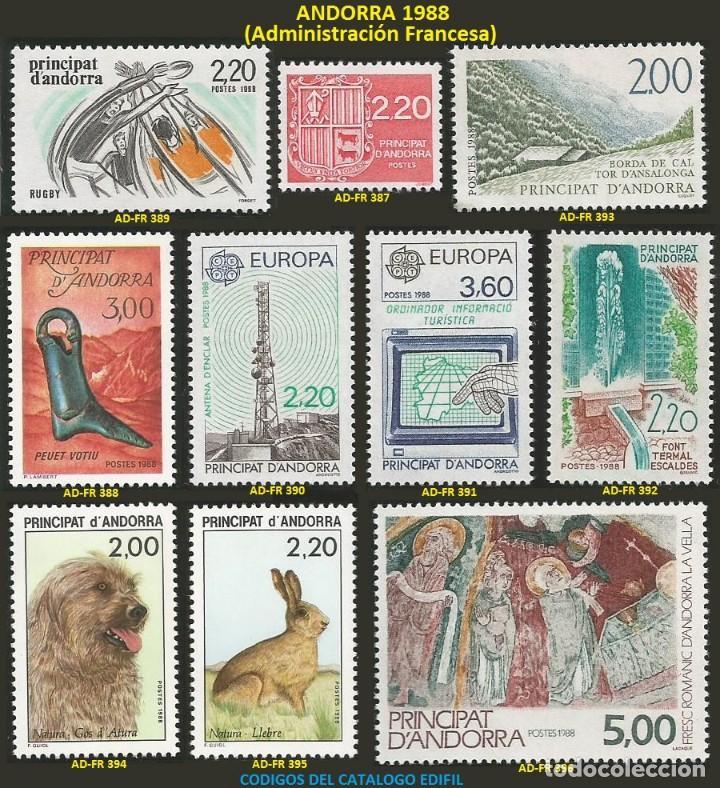 ANDORRA FRANCESA 1988 - AD-FR 387 A 396 - 10 SELLOS NUEVOS - SERIE COMPLETA (Sellos - Extranjero - Europa - Andorra)