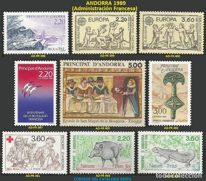 ANDORRA FRANCESA 1989 - AD-FR 397 A 405 - 9 SELLOS NUEVOS - SERIE COMPLETA (Sellos - Extranjero - Europa - Andorra)