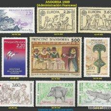Sellos: ANDORRA FRANCESA 1989 - AD-FR 397 A 405 - 9 SELLOS NUEVOS - SERIE COMPLETA. Lote 165061854
