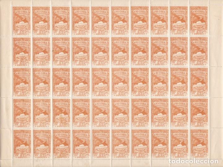 HOJA COMPLETA DE 50 SELLOS DE ANDORRA DEL AÑO 1932 NE22 EN PERFECTO ESTADO DE CONSERVACION (Sellos - Extranjero - Europa - Andorra)