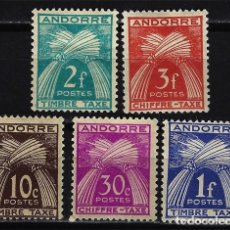 Sellos: 1943/1947 ANDORRA FRANCESA MI YVERT YT 22-27-32-33-34 MH* NUEVOS CON CHARNELA - TASAS. Lote 165986778