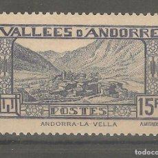 Sellos: ANDORRA,1942,CAT.YT.AD.FR.91,NUEVO,GOMA ORIGINAL,CON FIJASELLOS.. Lote 166877288