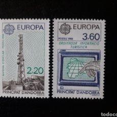 Sellos: ANDORRA FRANCESA. YVERT 369/70 SERIE COMPLETA NUEVA ***. EUROPA CEPT. TRANSPORTES Y COMUNICACIONES. Lote 168363782