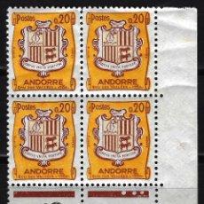 Sellos: 1961 ANDORRA FRANCESA - YVERT 157 - EDIFIL 171 - MNH** NUEVOS SIN FIJASELLOS - BLOQUE DE 4 - ESCUDO. Lote 170367240