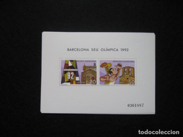 NUEVE HOJITAS BLOQUE DE ANDORRA 1987 BARCELONA SEDE OLÍMPICA 1992 (Sellos - Extranjero - Europa - Andorra)