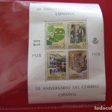 Sellos: ANDORRA, 1978 50 ANIV.DEL CORREO ESPAÑOL, EDIFIL 116 HB. Lote 173559245