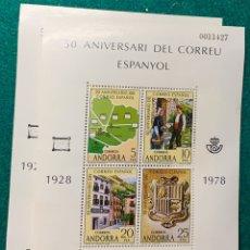 Sellos: 2 HB 50 ANIVERSARIO DEL CORREO ESPAÑOL. ANDORRA. Lote 177599769