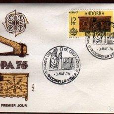 Sellos: GIROEXLIBRIS. ANDORRA ESPAÑOLA.- 1976 EUROPA CEPT YVERT Nº 94/95 EN SOBRE DE PRIMER DÍA. Lote 179538768