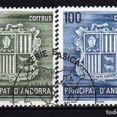 Sellos: GIROEXLIBRIS. ANDORRA ESPAÑOLA.- 1982 ESCUDO NACIONAL YVERT Nº 153/154 SELLOS USADOS. Lote 179545023