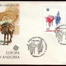 Sellos: GIROEXLIBRIS. ANDORRA ESPAÑOLA.- 1986 TRANSPORTES Y COMUNICACIONES YVERT Nº 190/91 SOBRE . Lote 179548047