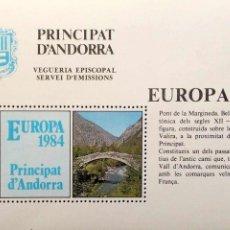 Sellos: VEGUERÍA EPISCOPAL ANDORRA. HB EUROPA 1984: PONT DE MARGINEDA. NUEVA. Lote 183568381