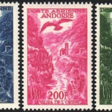 Sellos: ANDORRA FRANCESA, AÉREO 1955 - 57 YVERT Nº 2 / 4 /*/ . Lote 184121222