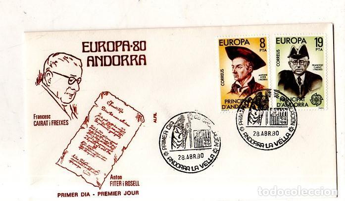 SOBRE PRIMER DIA. ANDORRA. EUROPA-80. VER FOTO. (Sellos - Extranjero - Europa - Andorra)