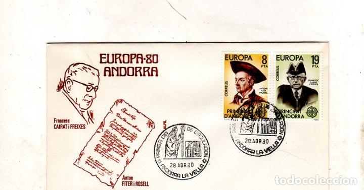 SOBRE PRIMER DIA. ANDORRA. EUROPA- 80. 1980. VER FOTO. (Sellos - Extranjero - Europa - Andorra)