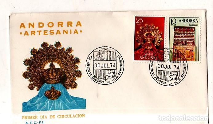 SOBRE PRIMER DIA. ANDORRA. ARTESANIA. 1974. VER FOTO. (Sellos - Extranjero - Europa - Andorra)