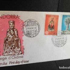 Sellos: SOBRE PRIMER DIA. EUROPA 74. ANDORRA. VERGE D´ORDINO. 1974.. Lote 186135927