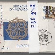 Sellos: ANDORRA CORREO ESPAÑOL . DEL 1990 AL 1994 . AÑOS COMPLETOS EN 20 SOBRES PRIMER DIA . SFC .. Lote 195510045