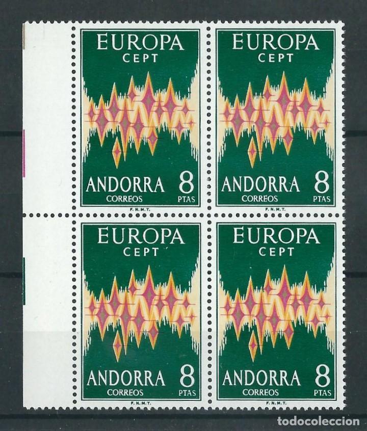 SELLOS ANDORRA 1972 EDIFIL 72** EUROPA CEPT BLOQUE DE 4 (Sellos - Extranjero - Europa - Andorra)