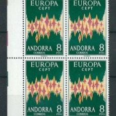Sellos: SELLOS ANDORRA 1972 EDIFIL 72** EUROPA CEPT BLOQUE DE 4. Lote 204172408