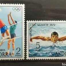 Sellos: ANDORRA ESPAÑOLA, N°76/77 MH, JJ.OO DE MÚNICH 1972 (FOTOGRAFÍA REAL). Lote 205196098