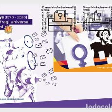 Sellos: SPANISH ANDORRA 2020 - 50 YEARS OF FEMALE UNIVERSAL SUFFRAGE FDC. Lote 207136113