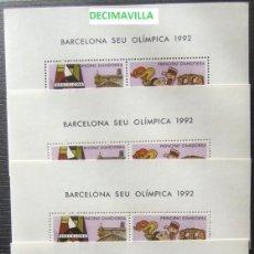 Sellos: AN5B200, ANDORRA, EDIFIL 200, 1987, BARCELONA 1992, OLIMPIADAS, 5 HOJAS-BLOQUE, CATALOGO 15 EUROS. Lote 209797382