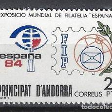 Sellos: ANDORRA 1984 - EXPO. MUNDIAL DE FILTÉLICA ESPAÑA - SELLO NUEVO **. Lote 210131626