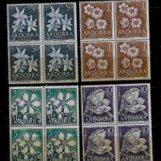 Sellos: ANDORRA - FLORES DEL PRINCIPADO - EDIFIL 68-71 - 1966 - BLOQUE DE CUATRO - NUEVOS. Lote 210951819