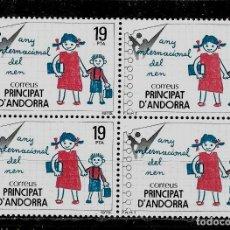 Sellos: ANDORRA - AÑO INTERNACIONAL DEL NIÑO - EDIFIL 127 - 1979 - BLOQUE DE CUATRO - NUEVOS. Lote 210952206