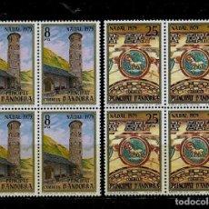 Sellos: ANDORRA - NAVIDAD- IGLESIA ROMANICA STA. COLOMA - EDIFIL 128-29 - 1979 - BLOQUE DE CUATRO - NUEVOS. Lote 210952604