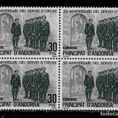 Selos: ANDORRA - 50 ANIV. CREACION SERVEI D´ORDRE- EDIFIL 142 - 1981 - BLOQUE DE CUATRO - NUEVOS. Lote 210953059