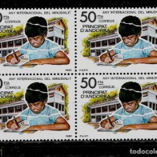 Sellos: ANDORRA - AÑO INTER. DEL MINUSVALIDO- EDIFIL 143- 1981 - BLOQUE DE CUATRO - NUEVOS. Lote 210953359