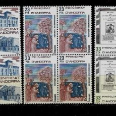 Sellos: ANDORRA - CONMEMORACIONES CENTENARIAS - EDIFIL 163-65 - 1982 - BLOQUE DE CUATRO - NUEVOS. Lote 210954785