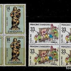 Sellos: ANDORRA - NAVIDAD - EDIFIL 166-167 - 1982 - BLOQUE DE CUATRO - NUEVOS. Lote 210956995
